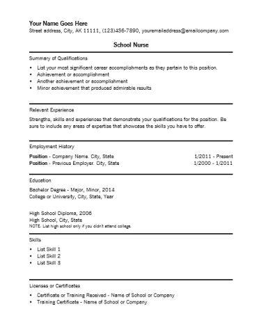 nursing resume template free nursing cv template graduate nurse ...