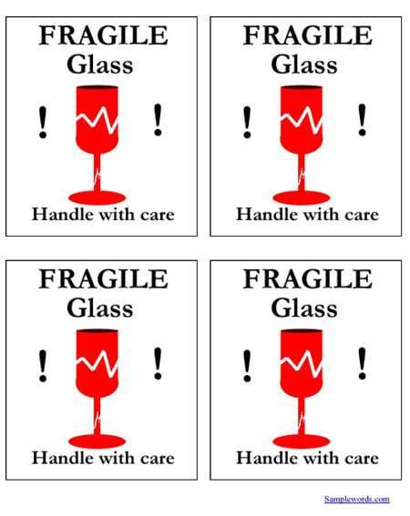 Free Printable Shipping Labels - Fragile Glass - Multiple Per Page