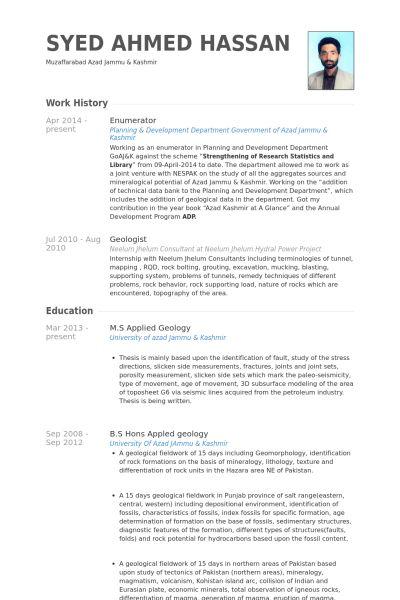 Enumerator Resume samples - VisualCV resume samples database