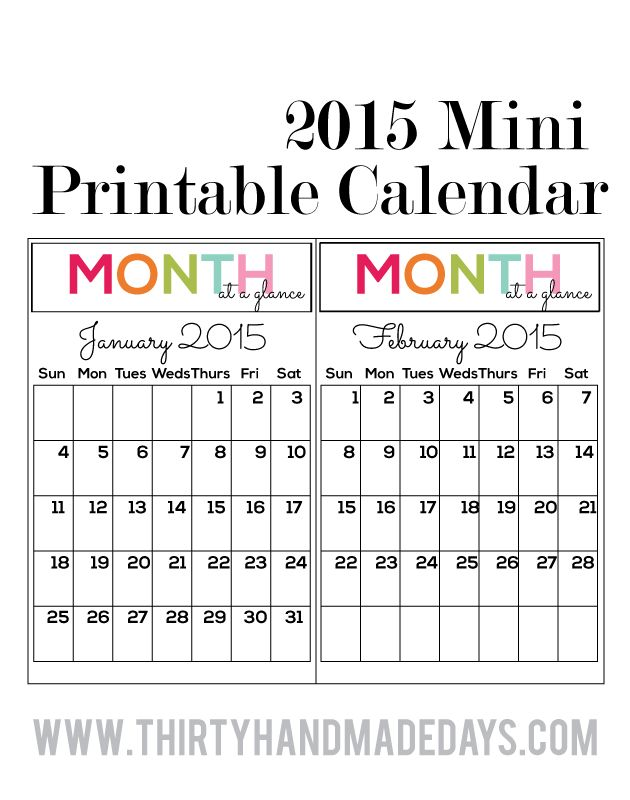 Printable Mini Calendar | Blank Calendar Design 2017