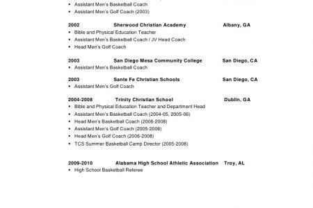 Basketball Coaching Resume Template - Reentrycorps