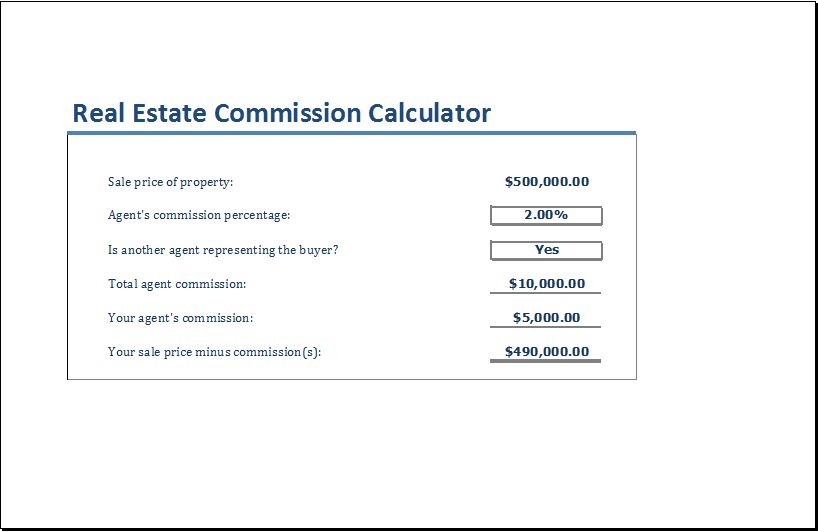 Real Estate Commission Calculator Template | Excel Templates