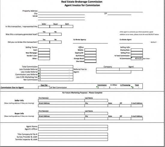 Free Real Estate Brokerage Commission Invoice Template | Excel ...