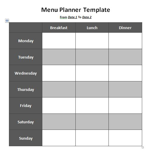 weekly menu planner template word - Template