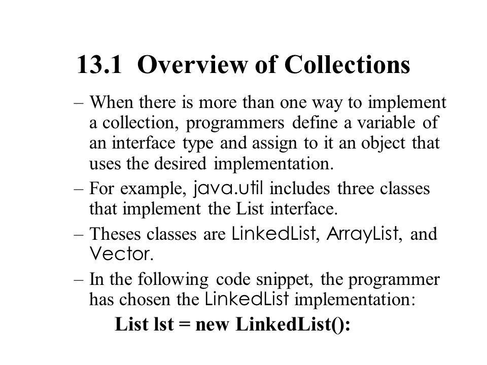 Fundamentals of Java Lesson 13: Linear Collections: Lists. - ppt ...