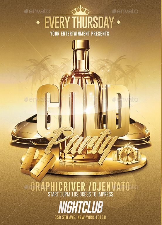 Gold Party - Psd Flyer Template / Customizable by RomeCreation on ...