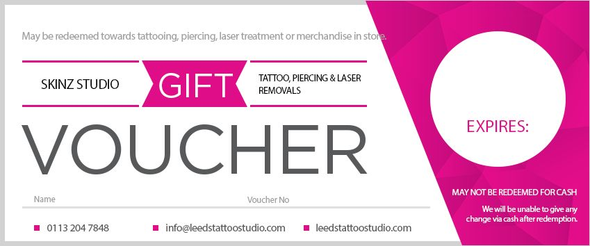 Printable Studio Voucher - Skinz Tattoo Studio