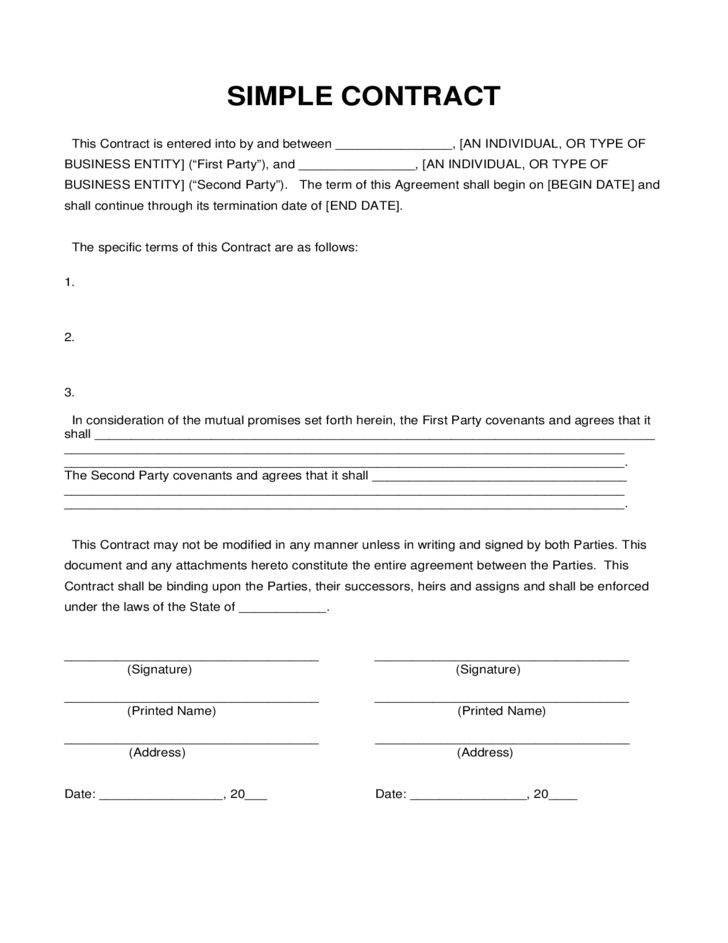 Simple Contract Sample Free Download