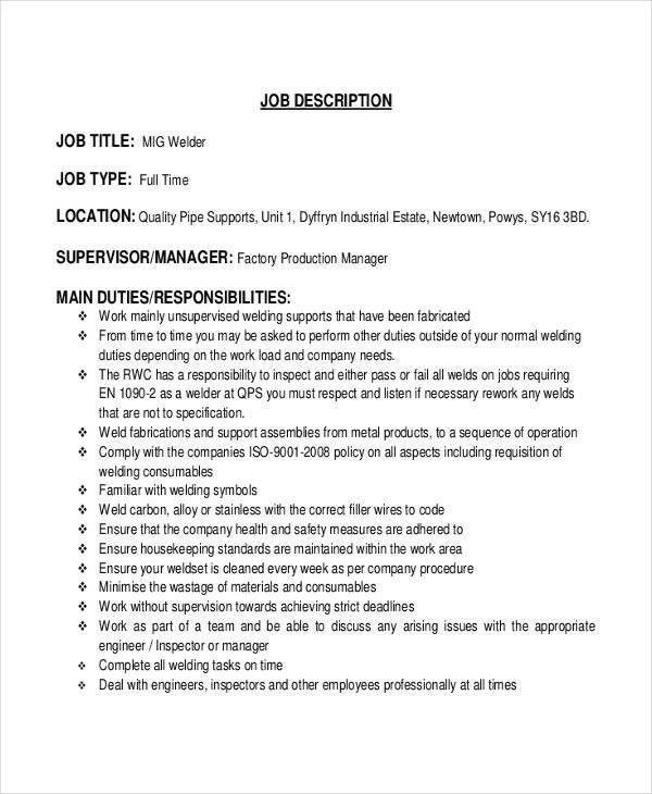 Welder Job Description - 10+ Free Word, PDF Documents Download ...