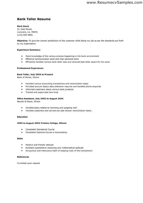 job winning bank teller resume example for employment with areas. Resume Example. Resume CV Cover Letter