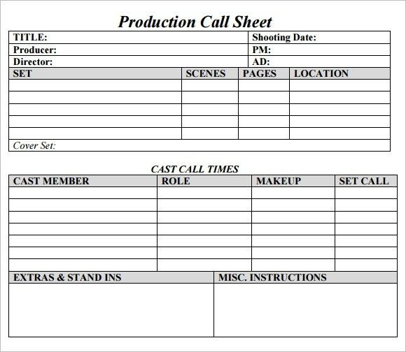 Call Sheet Template | ebook