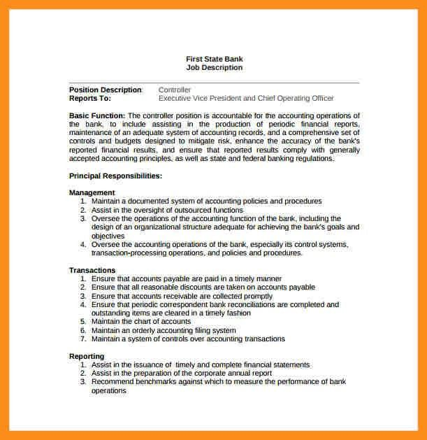 7+ job description sample | resume setups