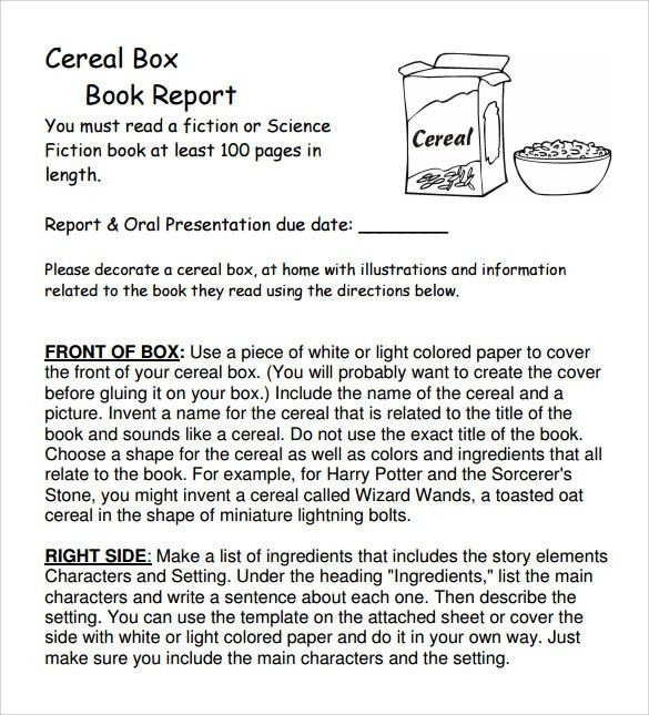 Cereal Box Book Report – 11+ Free Samples, Examples & Formats
