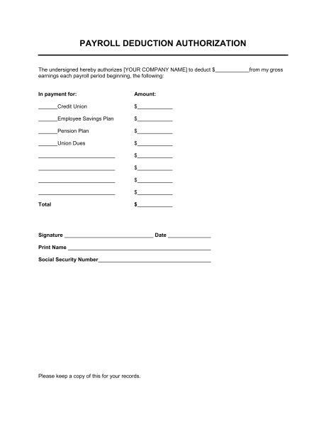 Payroll Deduction Authorization - Template & Sample Form | Biztree.com