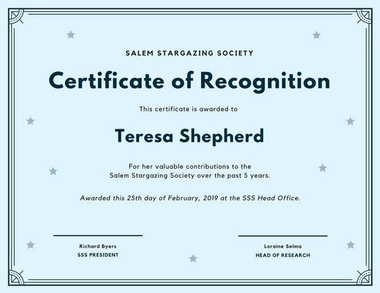 Light Blue Stars Simple Certificate of Recognition - Templates by ...