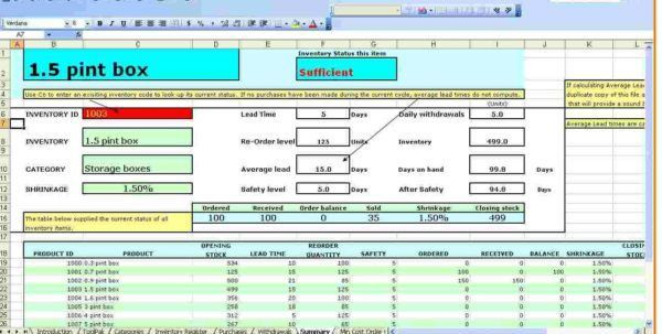 Excel Inventory Tracking Template Inventory Spreadsheet Template ...