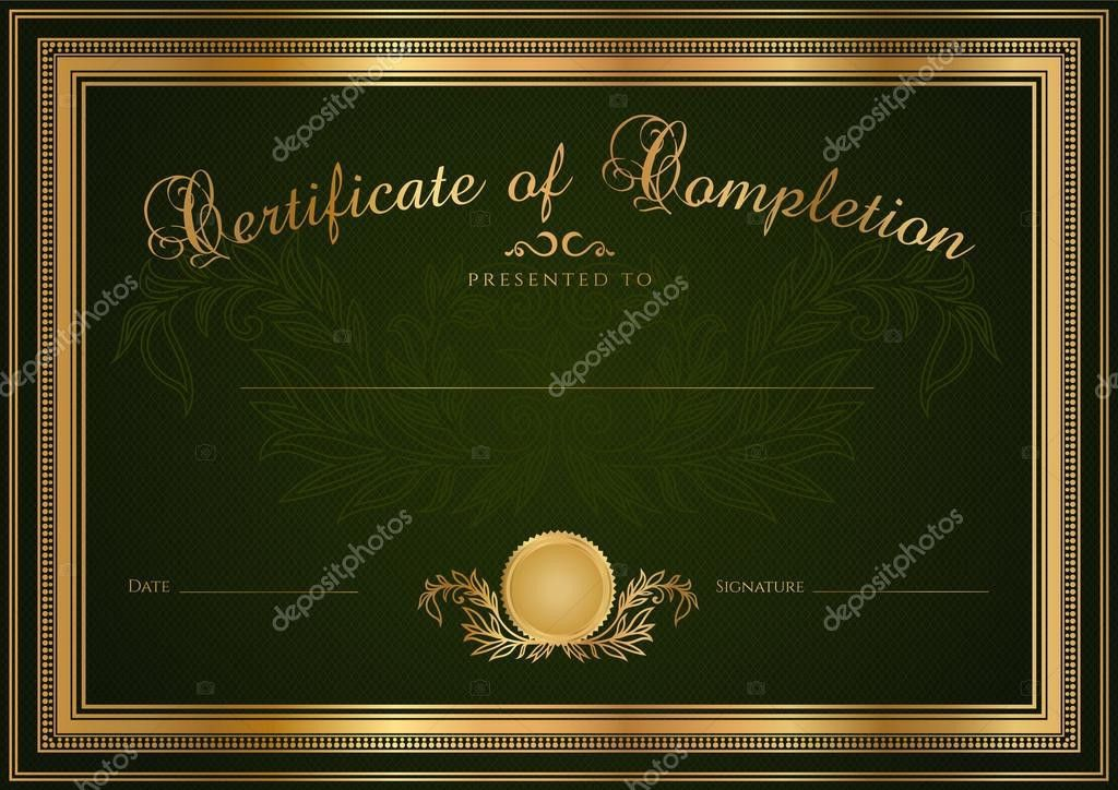 Green Certificate of completion (template or sample blank ...