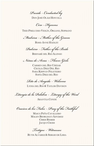 programs for a wedding | Spanish Wedding Program Examples-Catholic ...