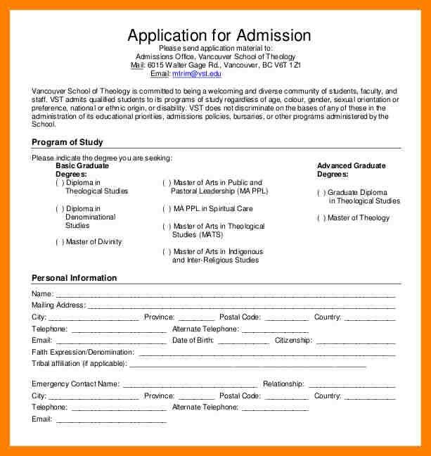 Admission Form For School [Template.billybullock.us ]
