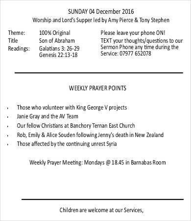 Church Bulletin Template - 12+ Free PDF, PSD Format Download ...