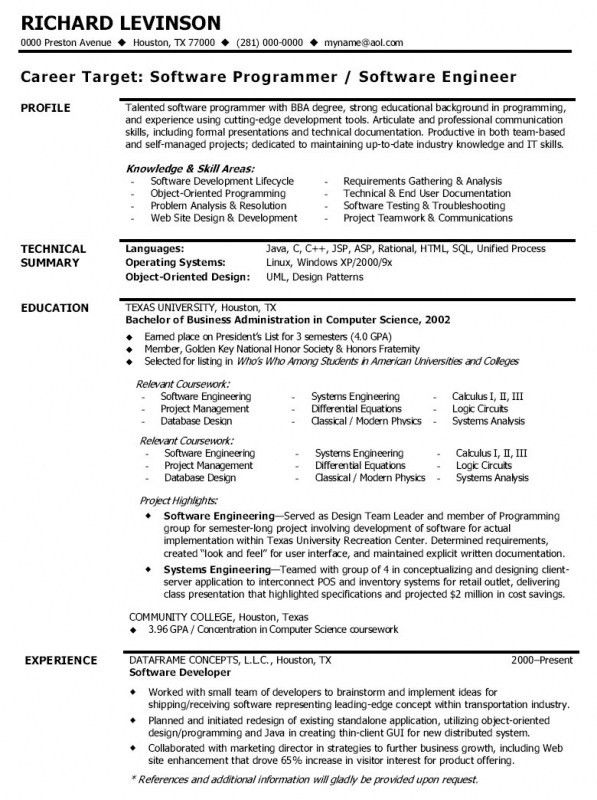 Objective For Software Engineer Resume | Samples Of Resumes