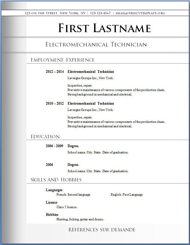 Microsoft Word Resume Template 2010. Template For Resume Word ...