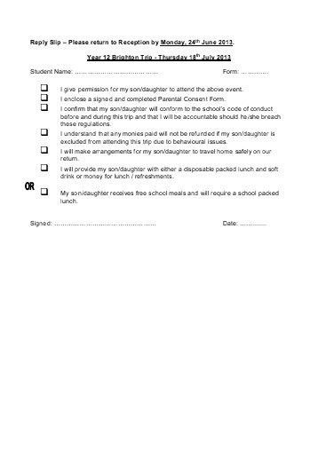 Parental Consent Form (AB) for Offsite Activity Non-Residential Go ...