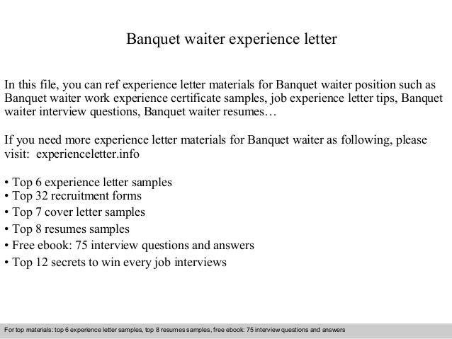 Waiter Resumes. Entrylevel Waiterwaitress Cover Letter Sample ...