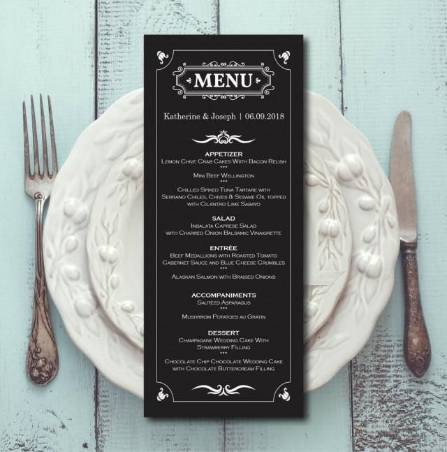 Retro Wedding Menu, Black White Menu Card Template, Dinner Menu ...
