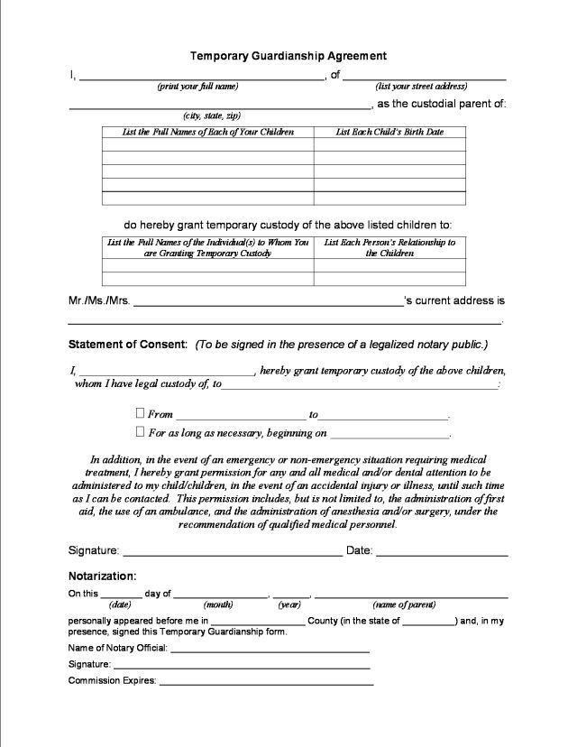 Temporary Guardianship Forms. Objection To Petition To Terminate ...