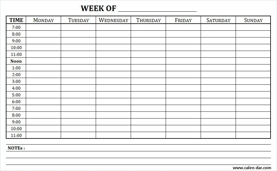 Free Blank Planner for Weekly Schedule Printable with Times