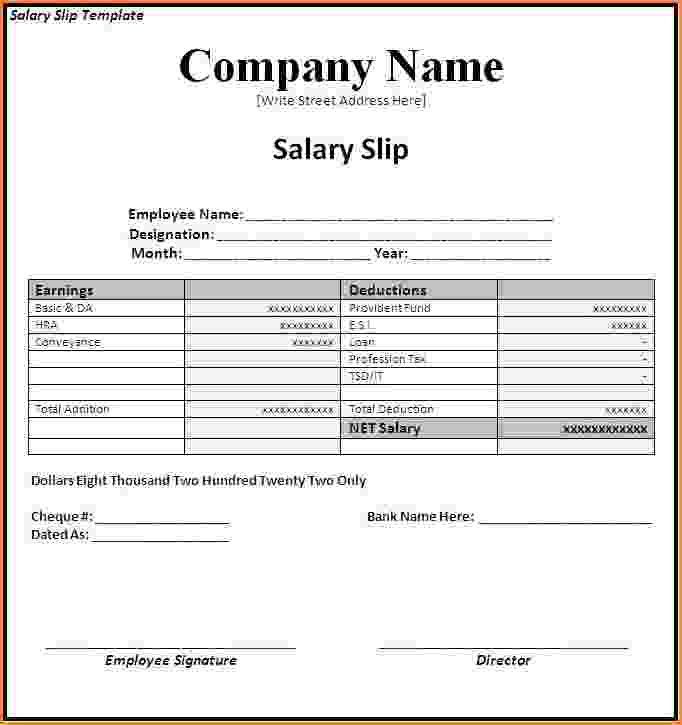 8+ sample of salary pay slip | Simple salary slip