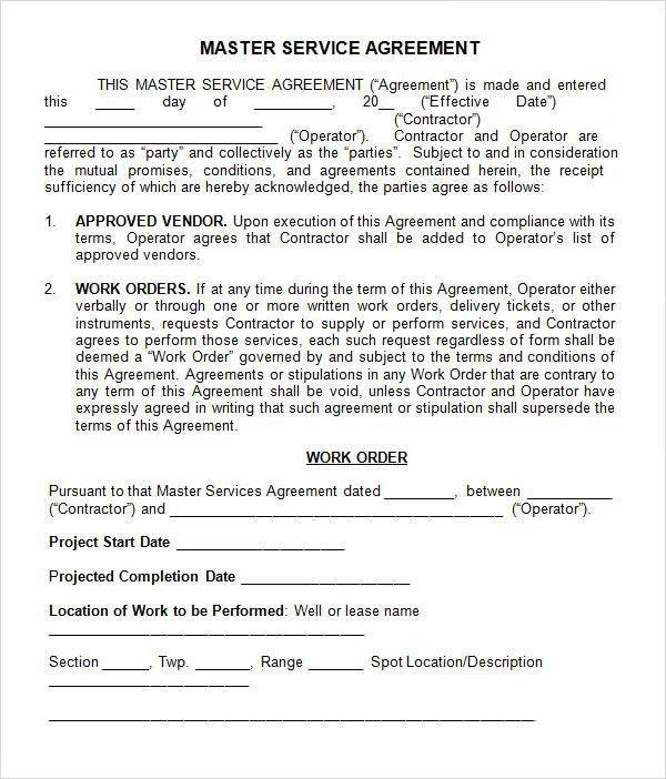 Master Service Agreement Template | Template idea
