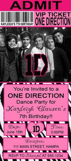 One Direction Birthday Party V.I.P vip ticket by SharedLove | For ...