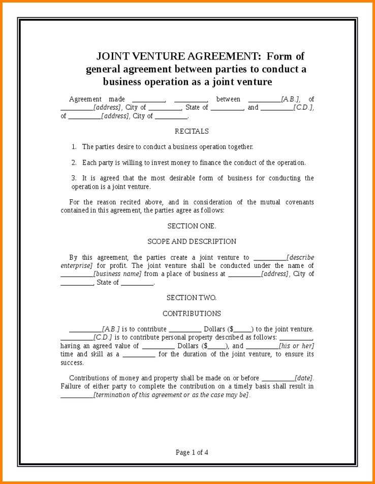 7+ joint venture agreement | memo templates