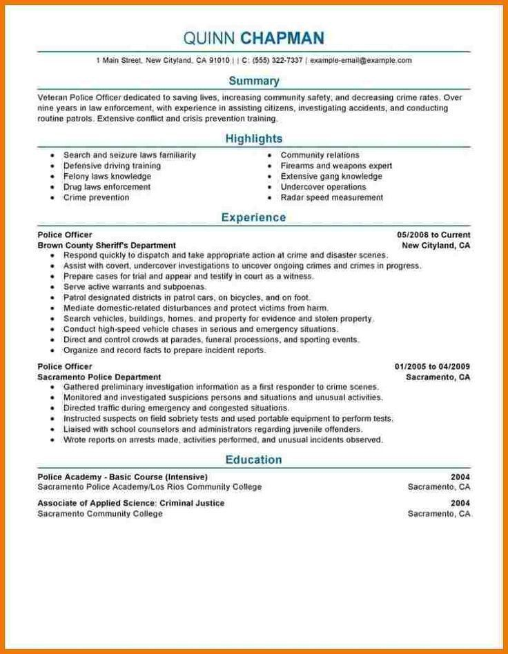 The 25+ best Police officer resume ideas on Pinterest | Commonly ...