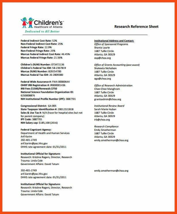 reference sheet template | program format