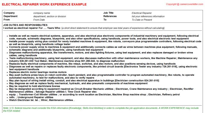 Electrical Wireman CV Work Experience Samples