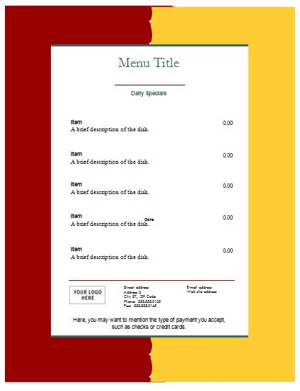 Food Menu Template - An Easy Way to Make a Food Menu