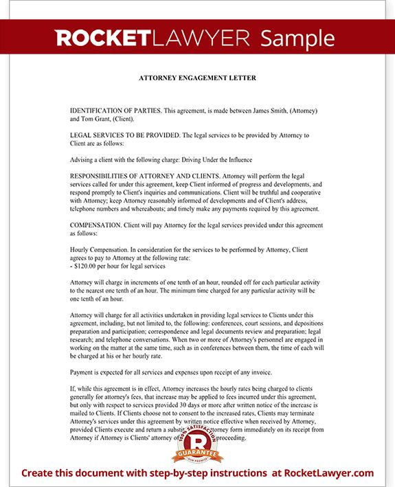 Attorney Engagement Letter for Law Firm, Client - Engagement ...