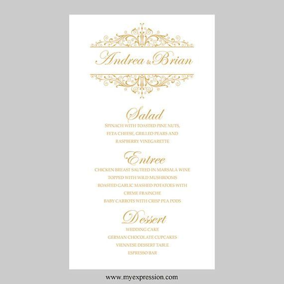 Wedding Menu Card Template Vintage Filigree by MyExpressionShop ...