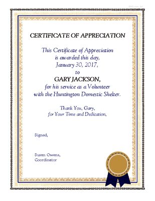 Volunteer Appreciation Certificate - Encourage & Support Printable ...