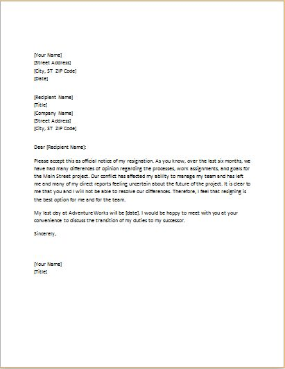 LETTER OF RESIGNATION DUE TO CONFLICT WITH BOSS | Word & Excel ...