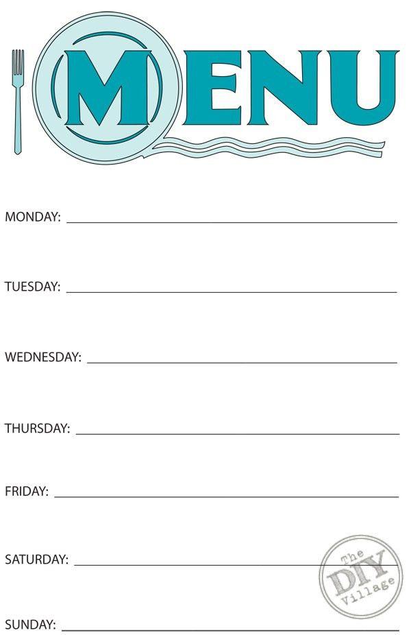 Free Printable Weekly Menu Planner | Weekly menu planners, Menu ...