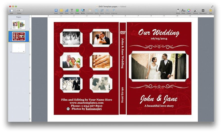 DVD Cover Template for Pages - MacTemplates.com