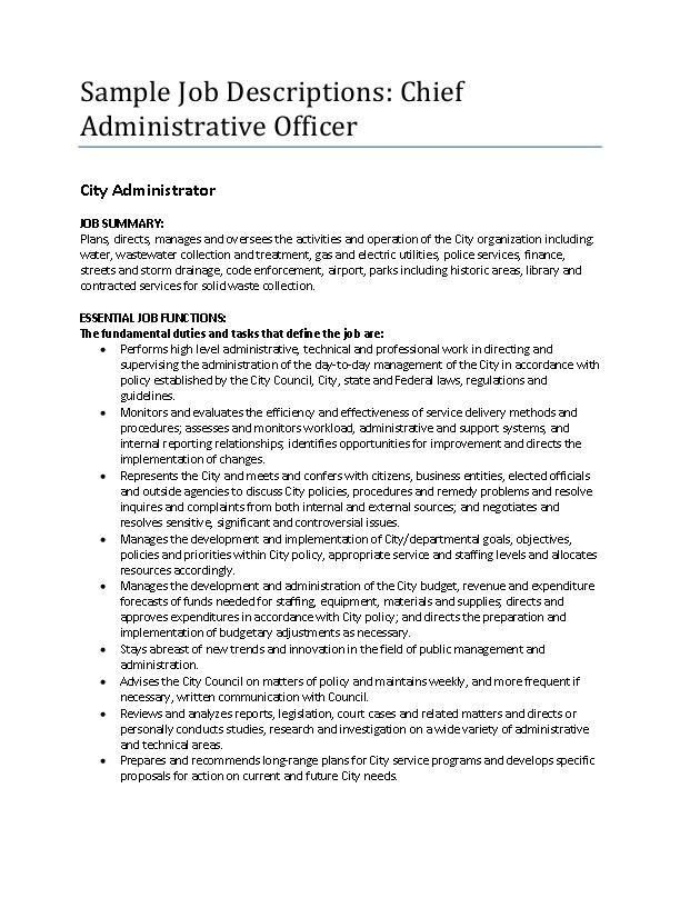 SAMPLE: Chief Administrative Officer Job Description | icma.org
