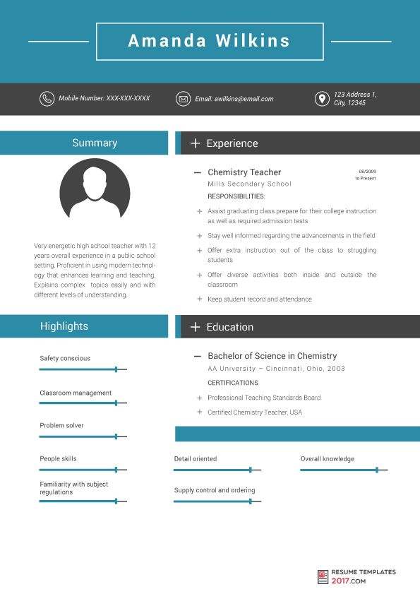 Resume Templates For Teachers Are the Skillful Way To Achieve ...