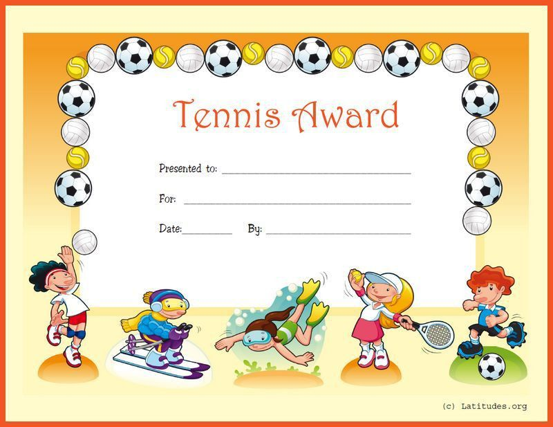 FREE Award Certificate for Tennis (Primary) | ACN Latitudes