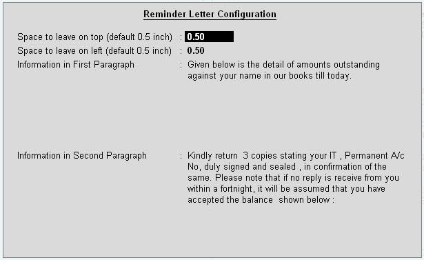 Confirmation Letter in Tally9 Accounting Software