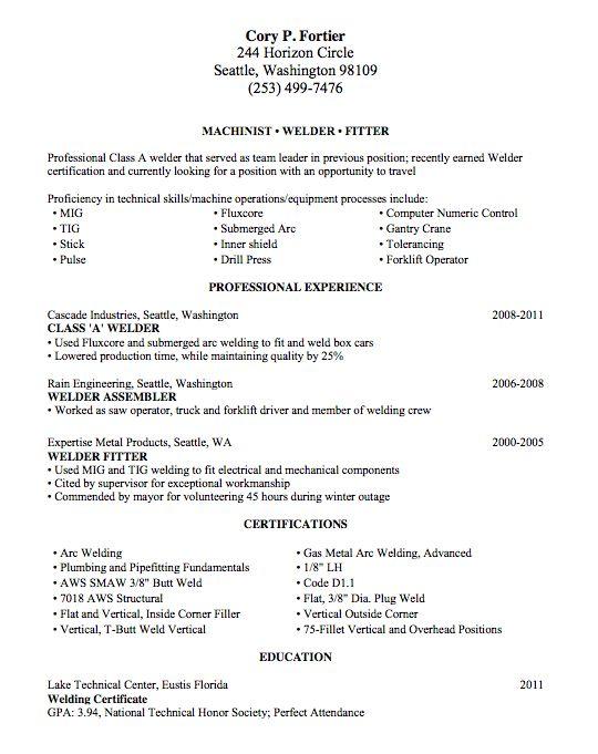 Welding Resume Sample - Lake Tech's Career Center